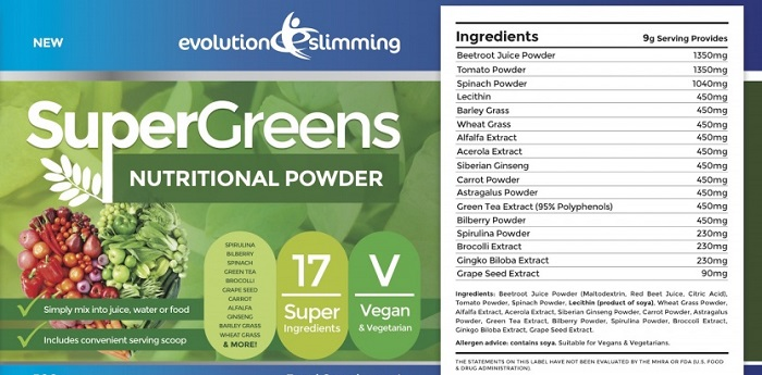 Evolution Slimming SuperGreens Ingredients